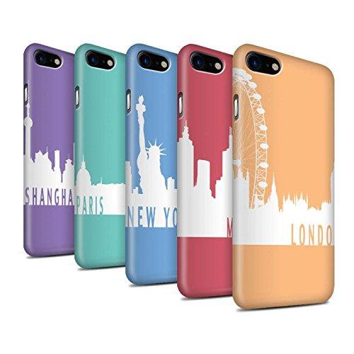 STUFF4 Matte Snap-On Hülle / Case für Apple iPhone 8 / Paris/Türkis Muster / Stadt Skyline Kollektion Pack 5pcs