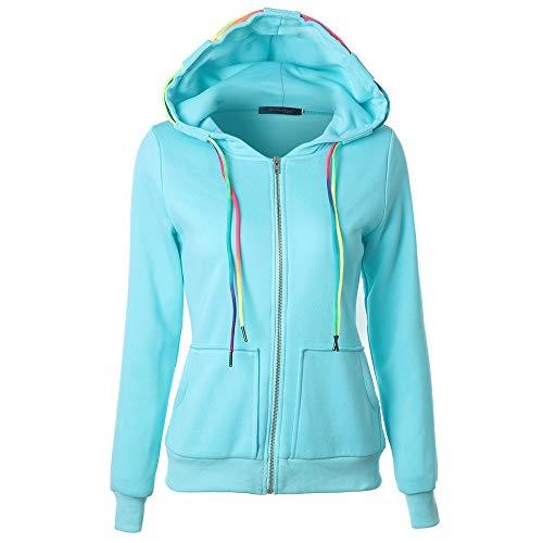 ESAILQ Mode Damen Hoodie Sweatshirt mit Kapuze Mantel Zipper Jacke(S,Blau) -