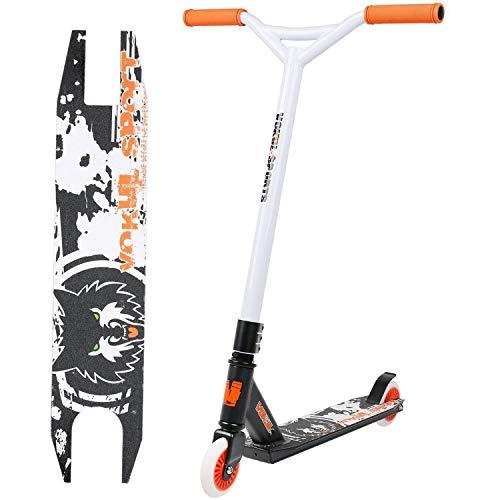 VOKUL TRII S2 Freestyle Pro Stunt Scooter Stuntscooter mit 100mm Rollen, bis 64kg für 8+ Erwachsene & Kinder (Orange & Weiß)