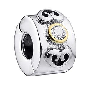 MATERIA Beads Stopper Clip Herz 925 Silber mit Zirkonia weiß antik mit Box/Premiumqualität #508