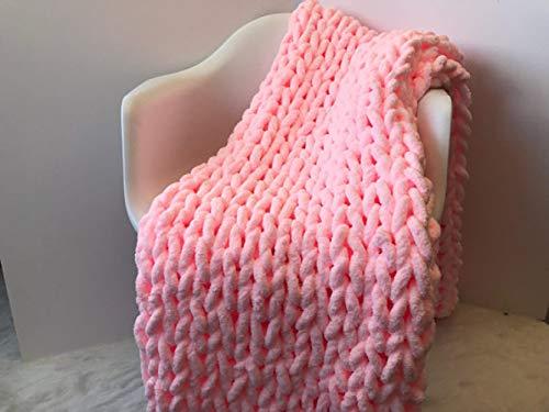 Intimate——Blanket Wolldecke Hand Gewebt Grob Gestrickte Plaid Schlafsofa Bettwäsche Handgefertigte Weiche Warme Bettwäsche Camping Business Wahl,Pink-200 * 200CM