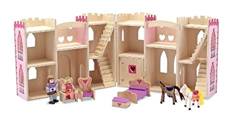 Melissa & Doug Fold and Go Wooden Princess Castle With 2 Royal Play Figures, 2 Horses, and 4 Pieces of