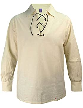 I Luv LTD Gents Scottish Ghillie Shirt In Natural Colour Size Small