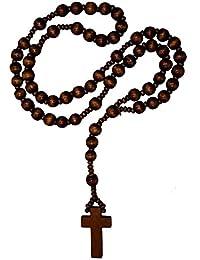 Rosario de madera en tres diferentes colores marrón y negro cuentas de madera collar de Cruz, color: marrón oscuro