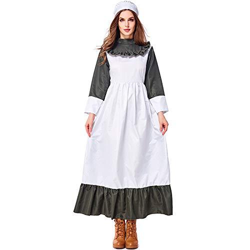 Kostüm Bauernmädchen Halloween - COSOER Bauernmädchen Cosplay Kostüm Vintage Ink Green Kitchen Servant Kleidung Für Halloween Female Wear,M