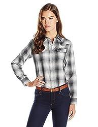 Wrangler Womens Western Fashion Shirts, Black Plaid, Medium