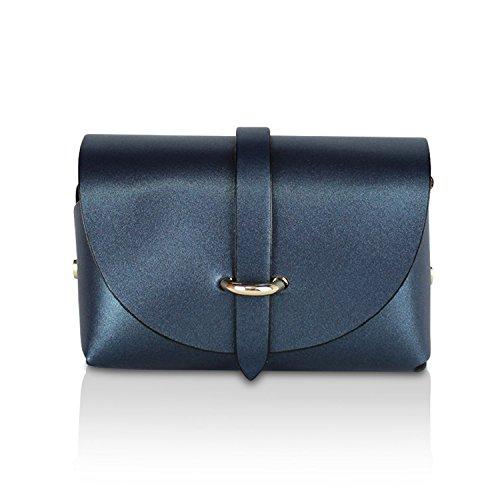 Glamexx24 Borsa vera Palle da Donna a mano , Casual Borsetta a tracolla, elegante Clutch Made in Italy 1.002 1.002.9 Blu Metallo