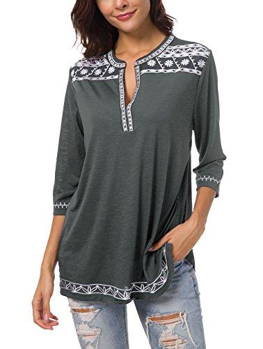 Urban GoCo Damen Böhmen Stickerei V-Ausschnitt Tops Blouse (Dunkel Grau, 2XL) (Shirt Sh Sleeve)