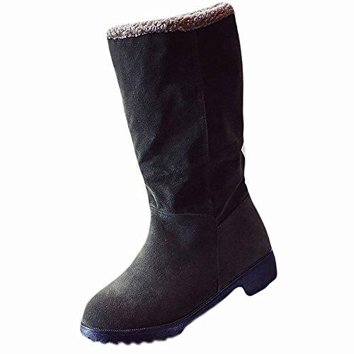 HSXZ Scarpe donna Nabuck Pelle PU Autunno Inverno Comfort moda Stivali Stivali Chunky tallone punta tonda Mid-Calf scarponi per esercito Casual verde grigio Black