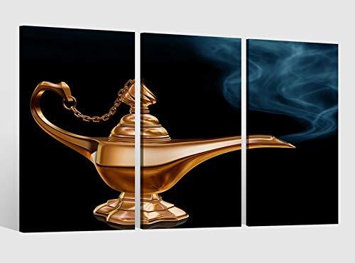 inderzimmer Märchen Lampe Kat2 Dschinn Bild Leinwand Leinwandbilder Wandbild Kunstdruck 9AB1620, 3 tlg BxH:90x60cm (3Stk 30x 60cm) ()