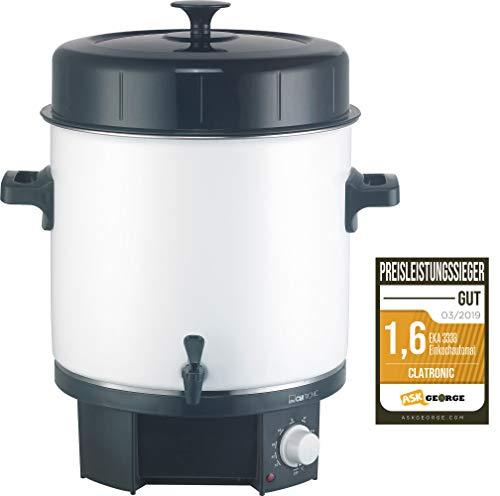 Clatronic EKA 3338 Einkochautomat mit Zapfhahn 25 Liter 1800 Watt, weiß