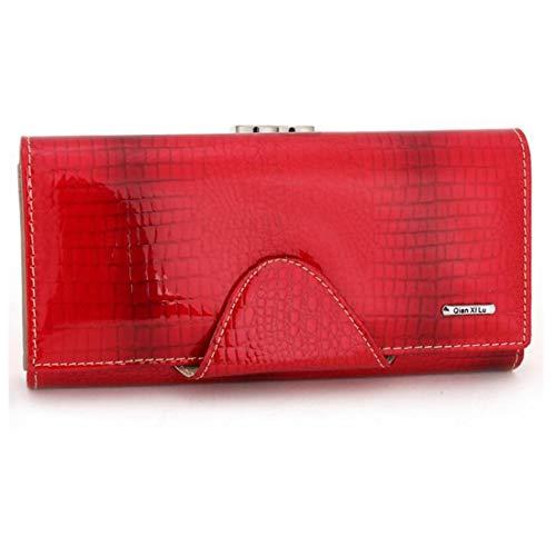 HeiPlaine Weiblich Brieftasche Wachs Leder Designer Trifold Multi Card Organizer Damen Clutch Griff Tasche (Farbe : Red)