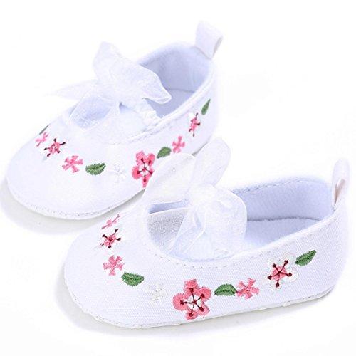 BZLine® Ruban Bowknot Fleurs Chaussures en Tissu pour Bébés Filles 0~18Mois, Anti-glissant Blanc