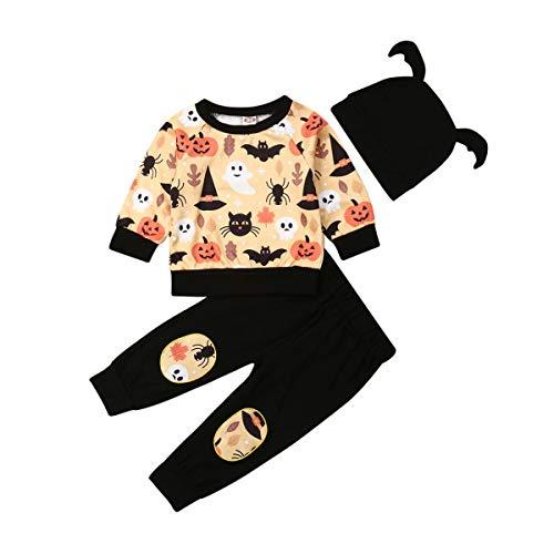 Mein Erstes Halloween-Baby-Outfit, 2019 Fashion Scared Cute Halloween-KüRbisanzug Pumpkin Ghost Shirt Top + Pluderhosen + Mit Ohrmuschel (Schwarz, 18-24 Months)