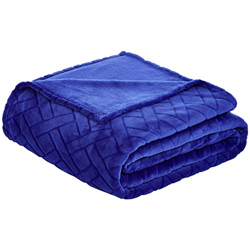AmazonBasics - Manta polar decoración relieve - Azul