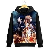 Cosstars Sword Art Online Sao Anime Pullover Sudaderas con Capucha Cosplay Disfraz Hoodie Sweatshirt Outwear Abrigo Suéter Negro 1 S
