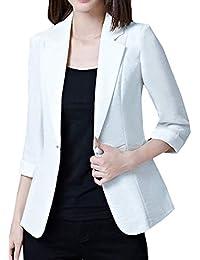 Betrothales Blazer Outerwear Oficina Solapa Oeste Otoño Formal Mujer Elegantes Unicolor Ocasional Manga Larga Lino Negocios