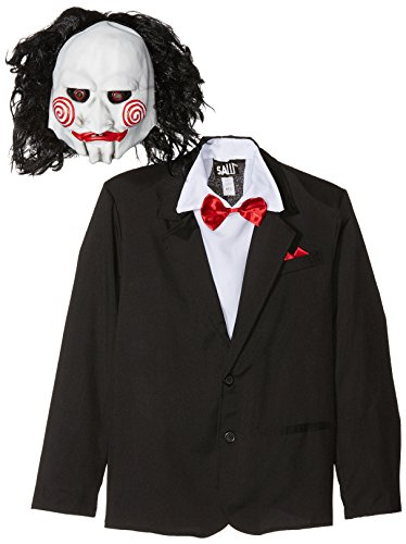 Smiffys licenza ufficiale disfraz de saw jigsaw, negro, con careta, americana, camisa y falso chaleco