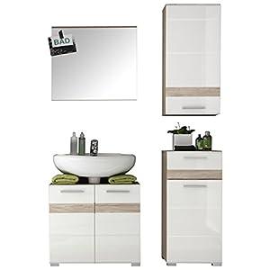 Trendteam Smart Living Combinación baño Set  Color Blanco Brillante Y Roble San Remo  Armario para Lavabo y Espejo