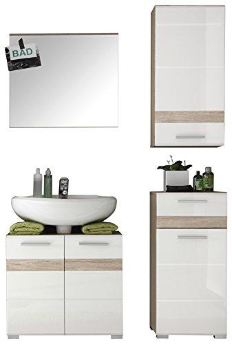 trendteam smart living Badezimmer 4-teilige Set Kombination Set One, 110 x 182 x 34 cm in Korpus Eiche San Remo Hell (Nb.), Front Weiß Hochglanz mit viel Stauraum