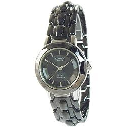 Omax Men's Quartz Watch Grey Black Silver Analogue Metal Wristwatch