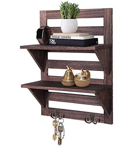 Comfify Rustikales Wandregal - Landhausdekor für Küche oder Bad - Vintage Wandregal mit zwei doppelten Eisenhaken & 2-stöckigem Regal - Dekorativer Wandregal-Organizer - Braun