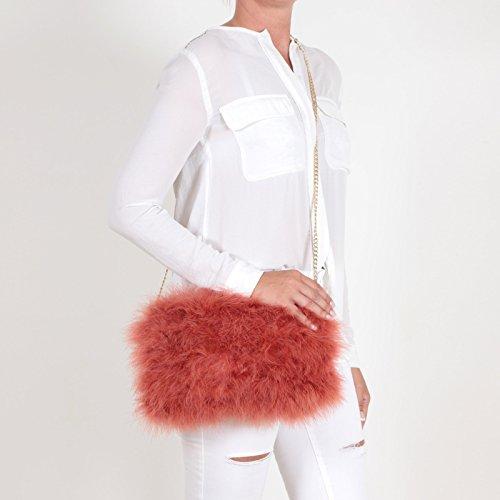 Clutch aus Federn Damen Handtasche Umhängetasche Schultertasche Abendtasche auch für Hochzeit und Party edel elegant mit 2 Schulterriemen EYES ON MISHA - viele Farben! Orange (Dunkelorange)