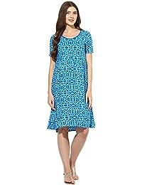 Mine4nine Women's Blue floral printed maternity dress