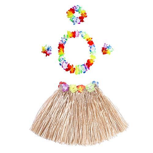 80's Tanz Motto Kostüm - Beito 5PCS / Set hawaiianischen Hula Baströckchen mit Blumen-Leis hawaiianischen Kostüm Set Elastic Luau Gras und Hawaii-Blumen-Zusätze für Partei-Bevorzugungen (Straw Farbe)