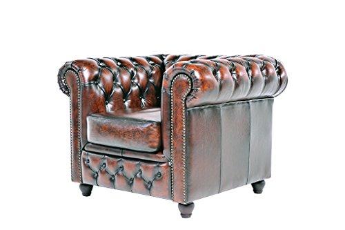 Chesterfield Showroom - Original Chesterfield Sofa / Couch - 1+3-Sitzer - Echtes Leder handgewischt - Antik-braun - 3