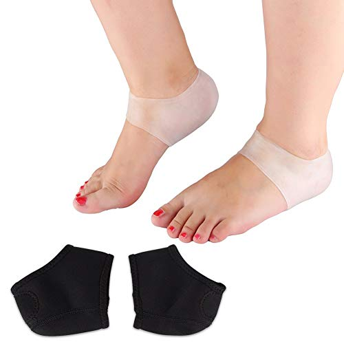 Silikon-Gel und Neopren Ferse Ärmel, 2 Paar/Set entlasten Fuß rissige Schmerzen Hautpflege Protector Socken -