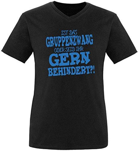 EZYshirt® Ist das Gruppenzwang oder seid ihr gern behindert Herren V-Neck T-Shirt Schwarz/Blau