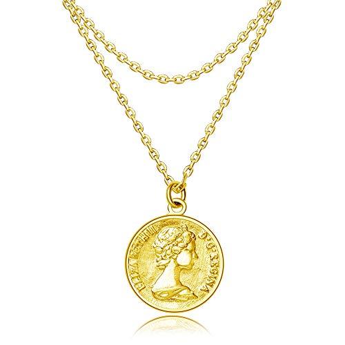 Joeyan Kette Mit Anhänger Medaillon Kreis 925 Silber 14K Gelbgold Strass Ketten Schöne Damen Geschenk Frauentag, Gold (Große Gold Münze Anhänger)