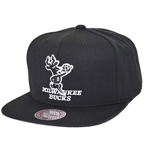 Mitchell & Ness NBA Snapback Milwaukee Bucks Wool Solid Black/White