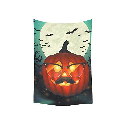 daawqee Moon Wall Art Happy Halloween Pumpkin with Glasses Tapestry Wall Hanging Art Sets 60 X 50 Inches Unique Home Decor