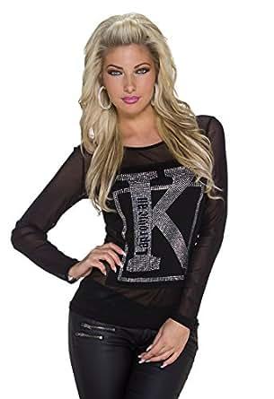 5093 Fashion4Young Damen Langarm-Shirt mit transparent Pulli kette verfügbar in Schwarz 2 Größen (S/M 34/36, Schwarz)