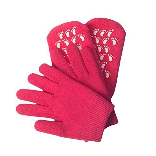Frcolor Gel-feuchtigkeitsspendende Spa-Handschuhe und Socken aus weicher Baumwolle mit thermoplastischem Gel Repair und heilen Ekzem geknackt trockene Haut (Rosy Red)