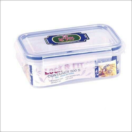 Kp set of 2 lock and fit airtight rectunglar multipurpose food storage multiutility clear box 500s polypropylene food container box set (2 pcs each 500 ml)  available at amazon for Rs.299