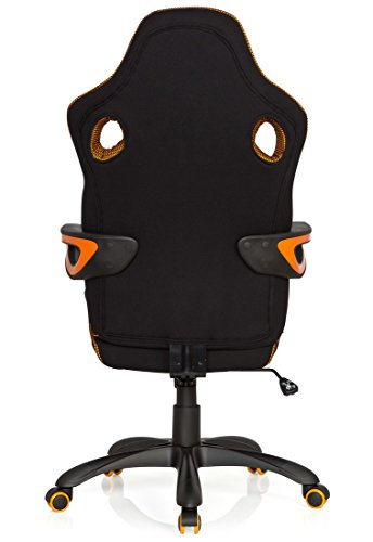 4198bPs4pvL - hjh OFFICE 621850 RACER PRO IV - Silla gaming y oficina, tejido negro/gris/naranja