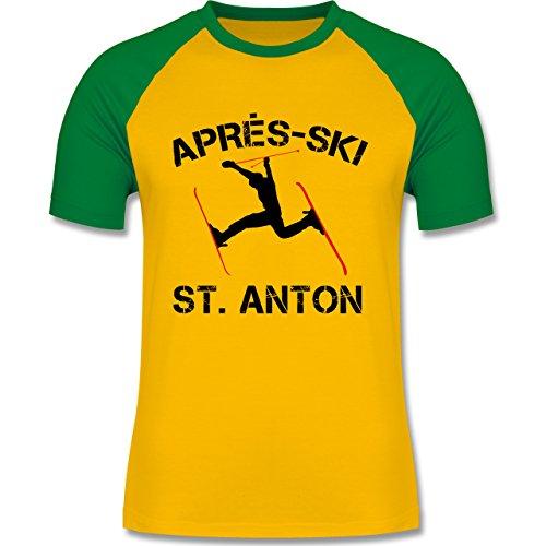 Après Ski - Apres Ski St Anton - zweifarbiges Baseballshirt für Männer Gelb/Grün