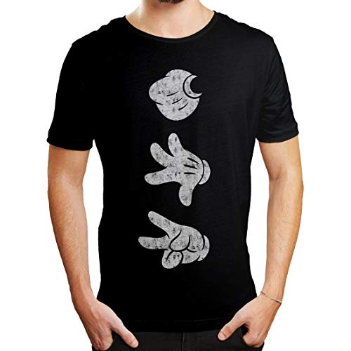 Mickey Mouse - Unisex Herren Damen Vintage T-Shirt - Mickey Hands (Schwarz) (S-XL) (M)