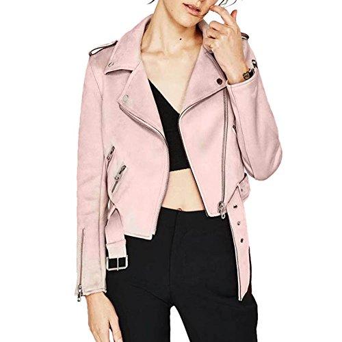 Domybest Einfarbig Winter Damen Revers Reißverschluss Wildleder Jacke Mantel S (Rosa Damen Jacke)