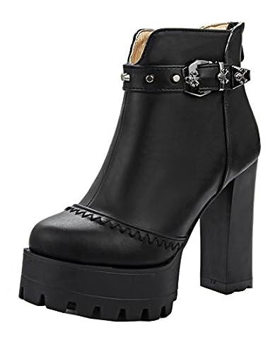 YE Damen Blockabsatz Hihg Heels Plateau Stiefeletten mit Nieten und Schnallen Reißverschluss Hinten 12cm Absatz Ankle Boots