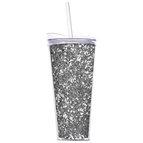 Glitter 22oz Double Wall Tumblers with Straw By Slant Collections (Silver Glitter) by Slant Collections