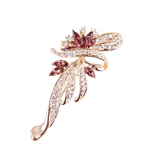 ysfl unico fiore argento/oro cristallo spilla pin per le donne regalo di natale, base metal, colore: Gold, cod.