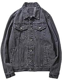 WQ&EnergyMen Men's Denim Vintage Fitness Button-Front Classic-Fit Jean Jacket