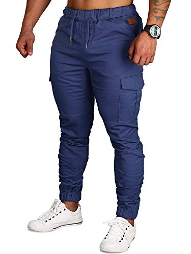 Zoerea Pantaloni Uomo Lunghi con Coulisse Tasche Laterali Maschio Cargo Pants Casual Sport Trousers Blu Scuro, XL