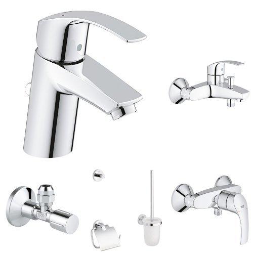 Grohe Eurosmart Waschtischarmatur S Size + Eurosmart Einhand-Wannenbatterie + Eurosmart Brausearmatur + Essentials Accessoires WC-Set 3-in-1 + 2x GROHE Eckventil (Einhand-set 3)