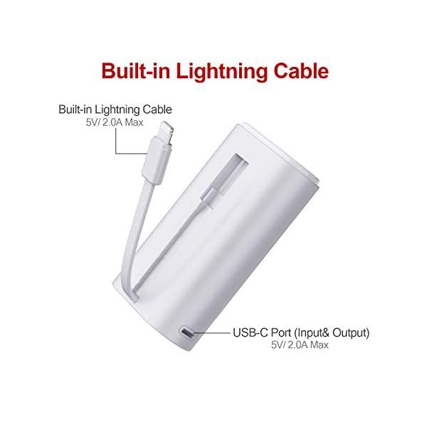 iWALK Cargador portatil movil 9000mAh Power Bank Mini bateria Externa movil Cable Incorporado Compatible con iPhone 11…