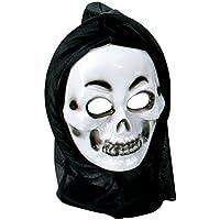 Halloween Fantôme avec bonnet, pour des adultes, taille unique, unisex, masque de fantôme, demi masque de plastique, douze coups de minuit, zombie
